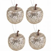 Deko Mini Apfel Glitter Champagner Baumschmuck Ø3,5cm 24St