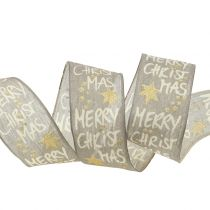 "Band ""Merry Christmas"" Grau, Gold 40mm 20m"