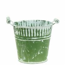 Blecheimer Grün weiß gewaschen Ø15cm H14,5cm 1St