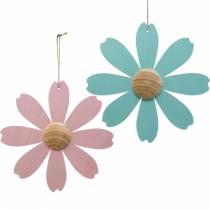 Blumen aus Holz zum Hängen, Frühlingsdeko, Holzblume Rosa und Blau, Sommer, Deko-Blüten 4St