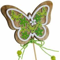 Blumenstecker Schmetterling Holz Frühlingsdeko am Stab 12St