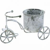 Blumentopf Fahrrad Metall Vintage Weiß gewaschen 24×13×14cm