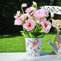 Blumentopf Metall Blumen Frühlingsdeko Übertopf Ø15cm H15,5cm