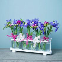 Blumenvase Apothekerflaschen Apothekerglas Deko auf Tablett 38cm