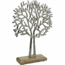 Dekobaum Buche Silbern, Baum-Silhouette aus Metall, Schmuckbaum auf Mangoholz