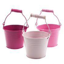 Deko eimer aus blech pink rosa 10cm 10st gro handel und for Deko aus blech
