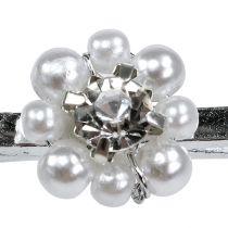 Deko Klammer mit Perlen-Blüte 2,5cm 6St