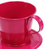 Deko-Tasse mit Fuß Rosa sort. Ø11,5cm H10cm 8St