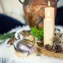 Deko Eichel Keramik Golden Tischdeko Weihnachten 13,5cm 2St