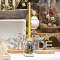Deko Glas mit Kerzenhalter Golden Metalldeckel Ø8cm H15,5cm