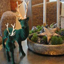 Hirsch stehend Dekofigur Grün Gold Tischdeko Advent 27cm