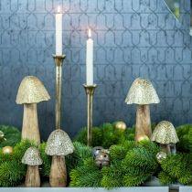 Deko Pilz Metall Holz Golden, Natur Dekoaufsteller 13,5cm