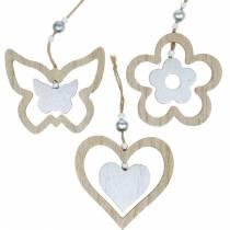 Dekohänger Herz Blume Schmetterling Natur, Silbern Holzdeko 6St