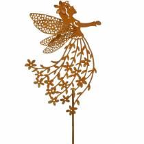 Dekostecker Blumenelfe, Frühling, Metalldeko, Fee am Stab, Edelrost