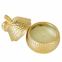 "Duftkerze ""Magnolia & Pear Blossom"" in Birnenschmuckdose Gold Ø7,4cm H9cm"