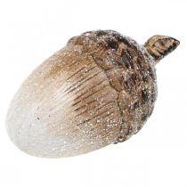 Deko Eichel beschneit Keramikdeko Herbst 14×7,5×7,5cm 3St