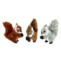 Eichhörnchen am Clip 8cm sortiert farbig 3St
