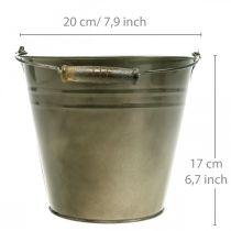 Metalltopf, Eimer zum Bepflanzen, Pflanzgefäß Ø20cm H17cm