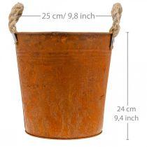 Übertopf mit Henkeln, Pflanzschale, Metallgefäß mit Rostdeko Ø25cm H24cm