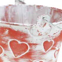 Metallgefäß zum Bepflanzen Eimer mit Herzmuster Muttertag Pflanzeimer Ø13,5cm