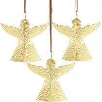 Deko-Engel, Metallanhänger, Weihnachtsdeko Golden 9×10cm 3St