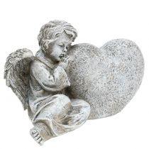 Engel mit Herz Grau 11,5cm × 9cm × 6,5cm 2St