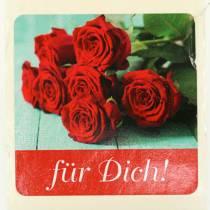 """Etiketten """"Für Dich"""" Rot 3,5cm x 3,5cm 500St"""