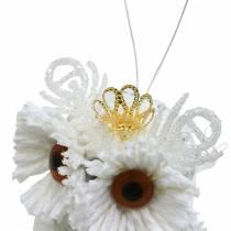 Deko Eule mit Krone zum Hängen Weiß, Glitzer 6,5 × 8cm 6St.