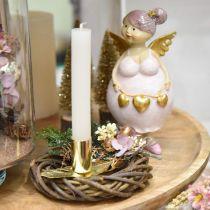 Kerzenständer auf Feder, Metalldeko, Kerzenhalter, Adventsdeko Golden Ø2,2cm L13cm 4St