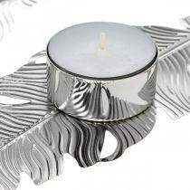 Teelichthalter Federn, Adventsdeko, Metalldeko, Kerzenständer Silbern Ø3,8cm L16,5cm 4St