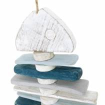 Maritime Fischdeko aus Treibholz Blau, Weiß L70cm