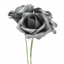 Foam-Rose Ø7,5cm Grau 18St