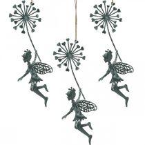 Frühlingsdeko, Elfe mit Pusteblume, Dekoanhänger Blütenfee, Metalldeko 3St