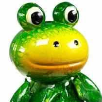 Deko-Stecker hüpfender Frosch mit Metallfedern Grün, Gelb H65,5cm