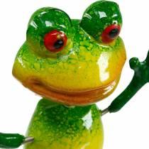 Blumenstecker Frosch mit Metallfedern Grün, Gelb H65,5cm