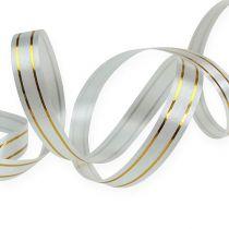 Splittband 2 Goldstreifen auf silber 10 mm 250m