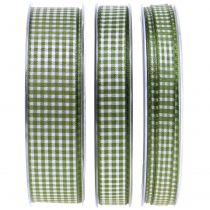 Geschenkband Karo Grün 8mm - 25mm 20m