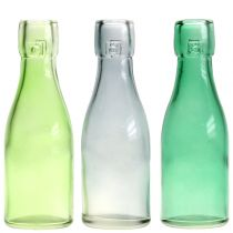 Glasflasche Vase Ø5cm H16cm Grün/Grau 6St