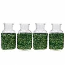 Deko Flasche Glas mit Bast Grün H10cm 4St