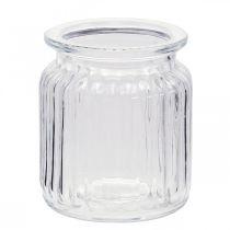 Glasvase gerippt Ø7,5cm H9cm