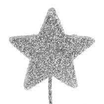 Glitterstern Silber 4cm am Draht 60St