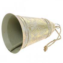 Weihnachtsglocke zum Hängen, Advent, Glocke mit Tannendeko Golden Antik-Optik Ø10,5cm H17cm