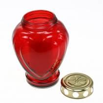 Grablicht Herz Rot 11,5cm x 8,5cm H17,5cm 4St