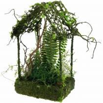 Moosdeko Grashaus Häuschen mit künstlichem Moos und Farn
