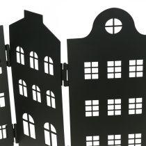Deko Haus Metall Schwarz Aufsteller Stadtsilhouette 40×18cm