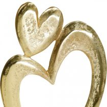 Metallherz Golden, Dekoherz auf Mangoholz, Tischdeko, Doppelherz, Valentinstag