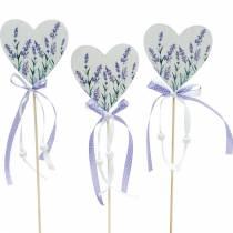 Lavendelherz, Sommerdeko, Herz zum Stecken mit Lavendel, Mediterrane Herzdeko 6St
