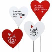 Holzstecker Herz mit Spruch Rot, Weiß Holz 6,5x7cm 12St