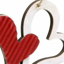 Herzanhänger aus Holz Rot, Weiß 8cm 24St