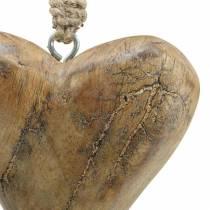 Herz zum Hängen Mango Natur, Golden 14×11cm 2St